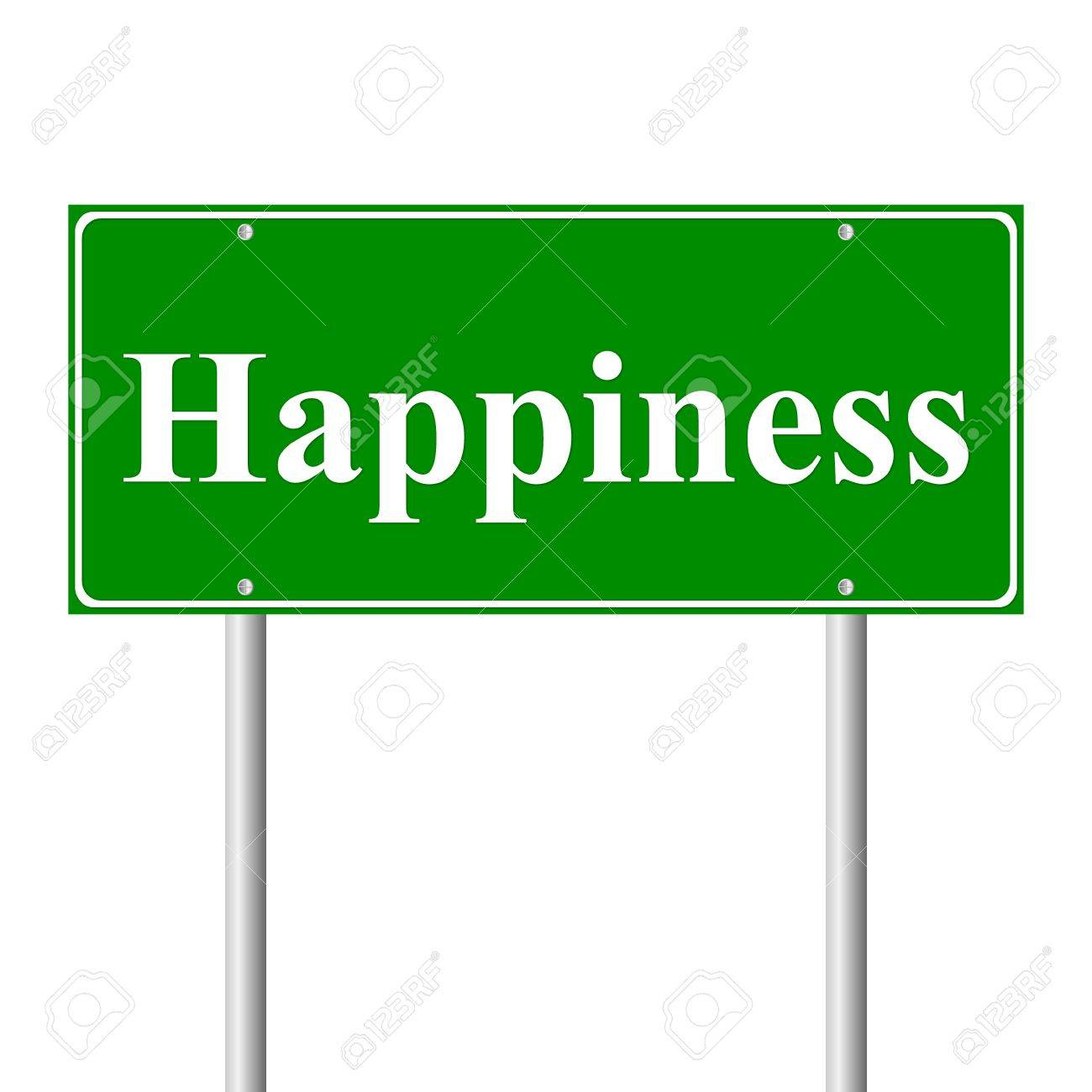 Happiness, concept  green road sign isolated on white background Stock Vector - 11760856