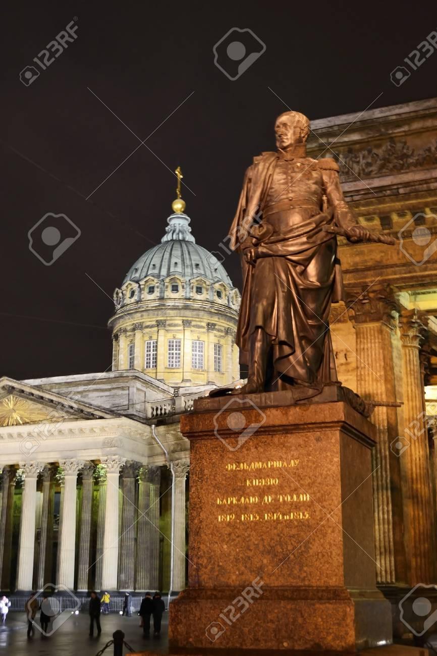 St.Petersburg, Russia - January 6, 2012: Kazanskiy Kafedralniy Sobor and statue of Kutuzov in St. Petersburg by night, Russia Stock Photo - 11817454