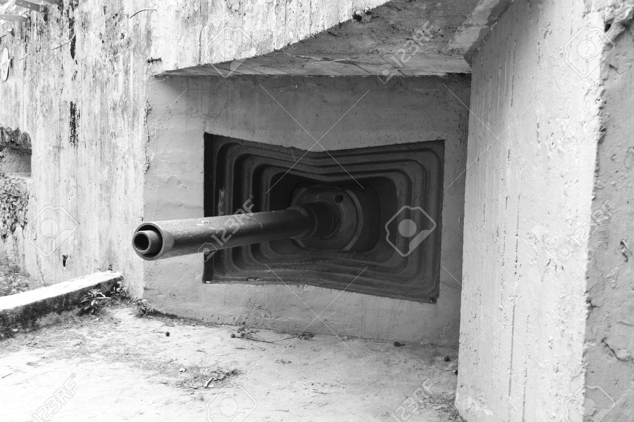 Embrasure of old military bunker from world war ii in sestroretsk russia black and