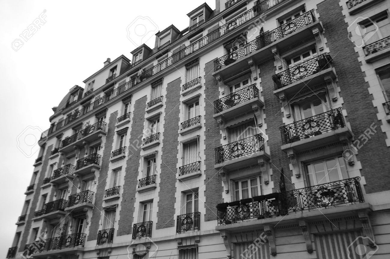 traditional inner city apartment buildings paris france black