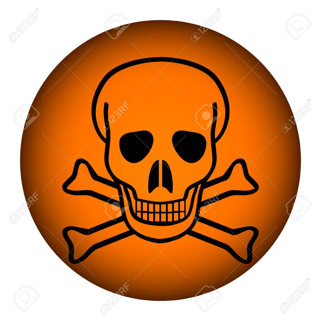Deadly danger sign button on white illustration. Stock Vector - 26708278