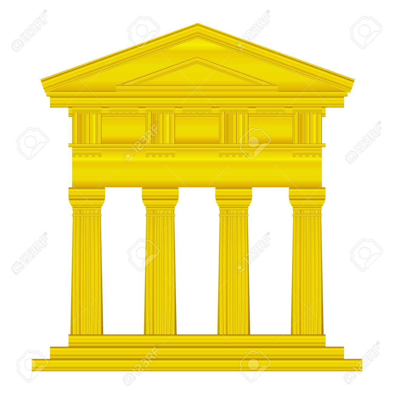 Gold doric temple isolated on white background. Stock Vector - 27273986
