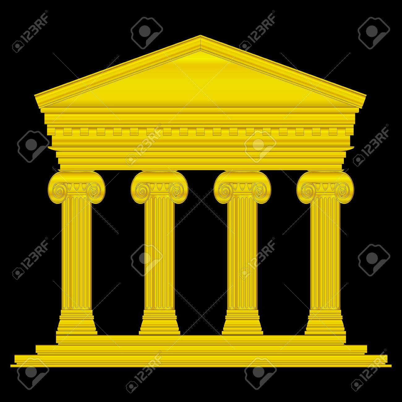 Gold ionic temple isolated on black background. Stock Vector - 27273991