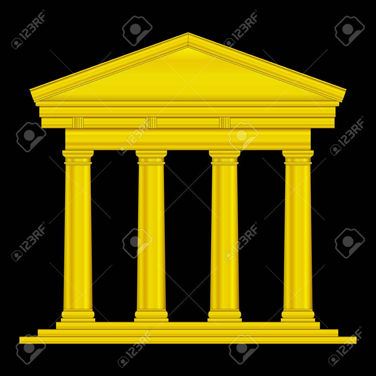 Gold tuscan temple isolated on black background. Stock Vector - 27293569