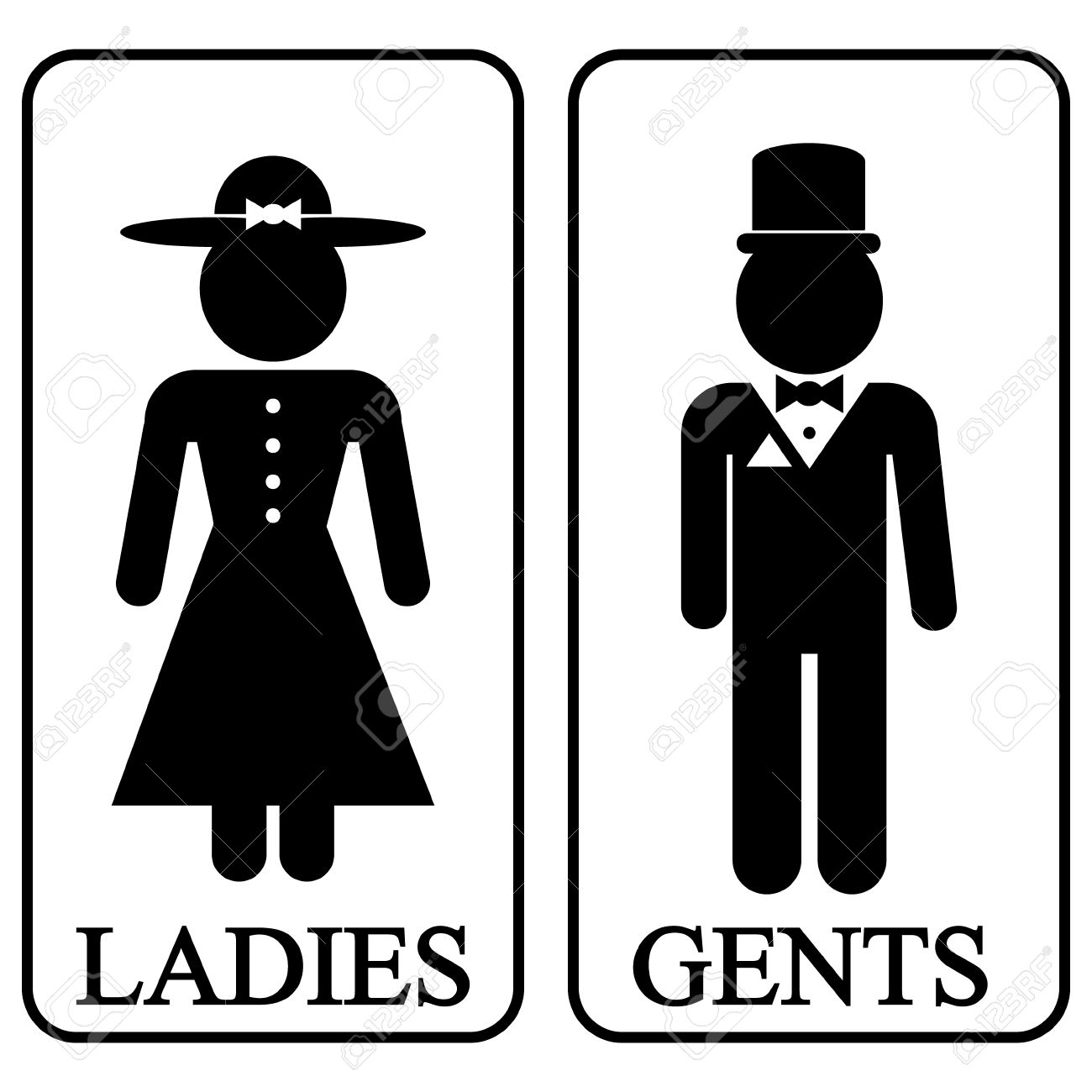 Icons Of Men And Women In Retro Style Vector Illustration