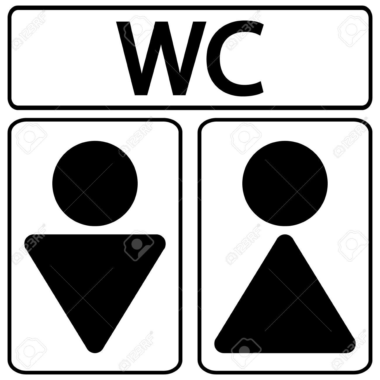 iconos del símbolo de los baños masculinos y femeninos