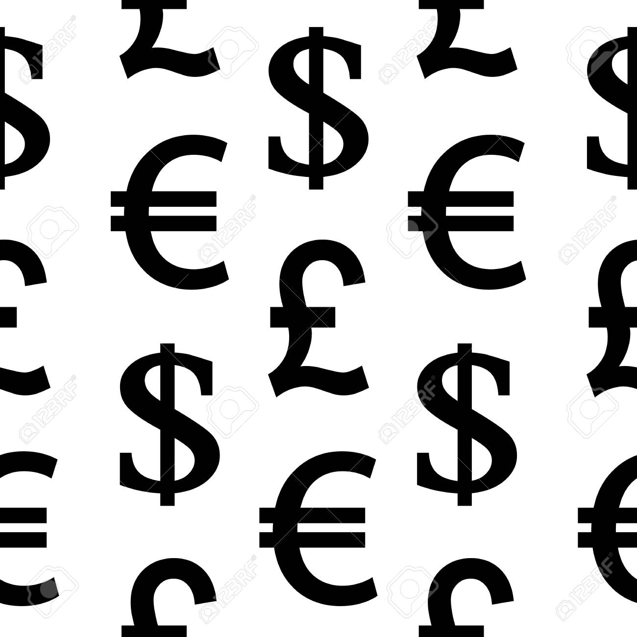 Currency Symbols Seamless Pattern On White Background Vector