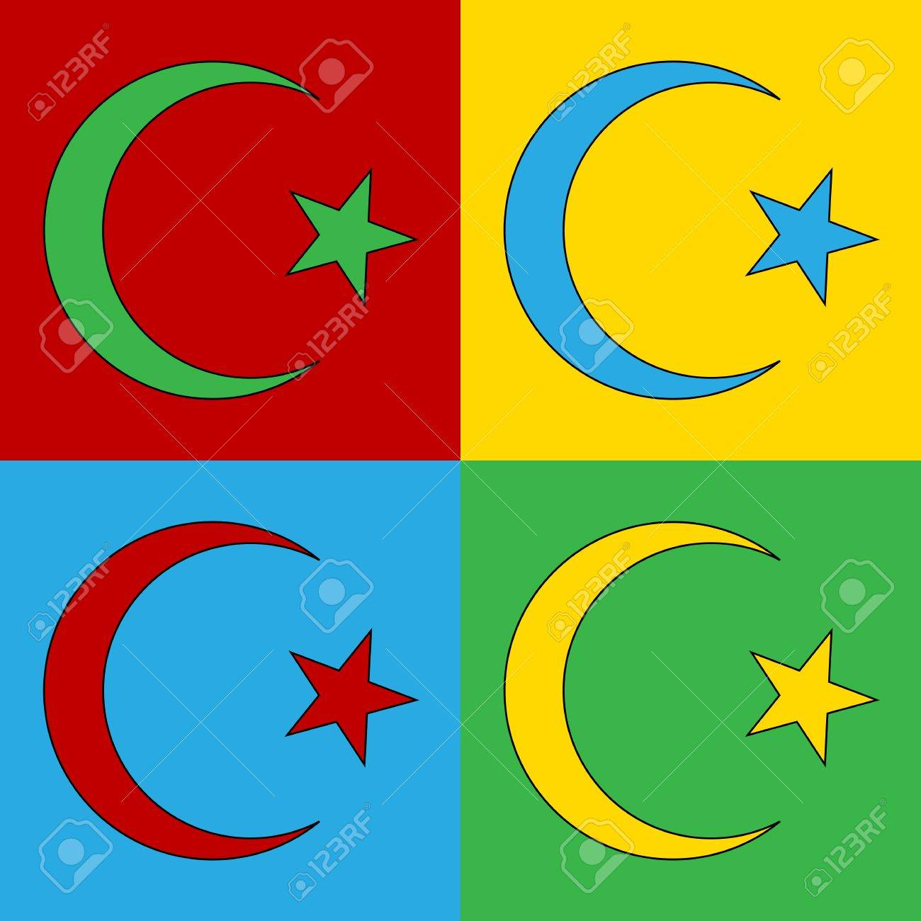Pop art star and crescent symbol icons vector illustration pop art star and crescent symbol icons vector illustration symbol of islam banque buycottarizona Gallery