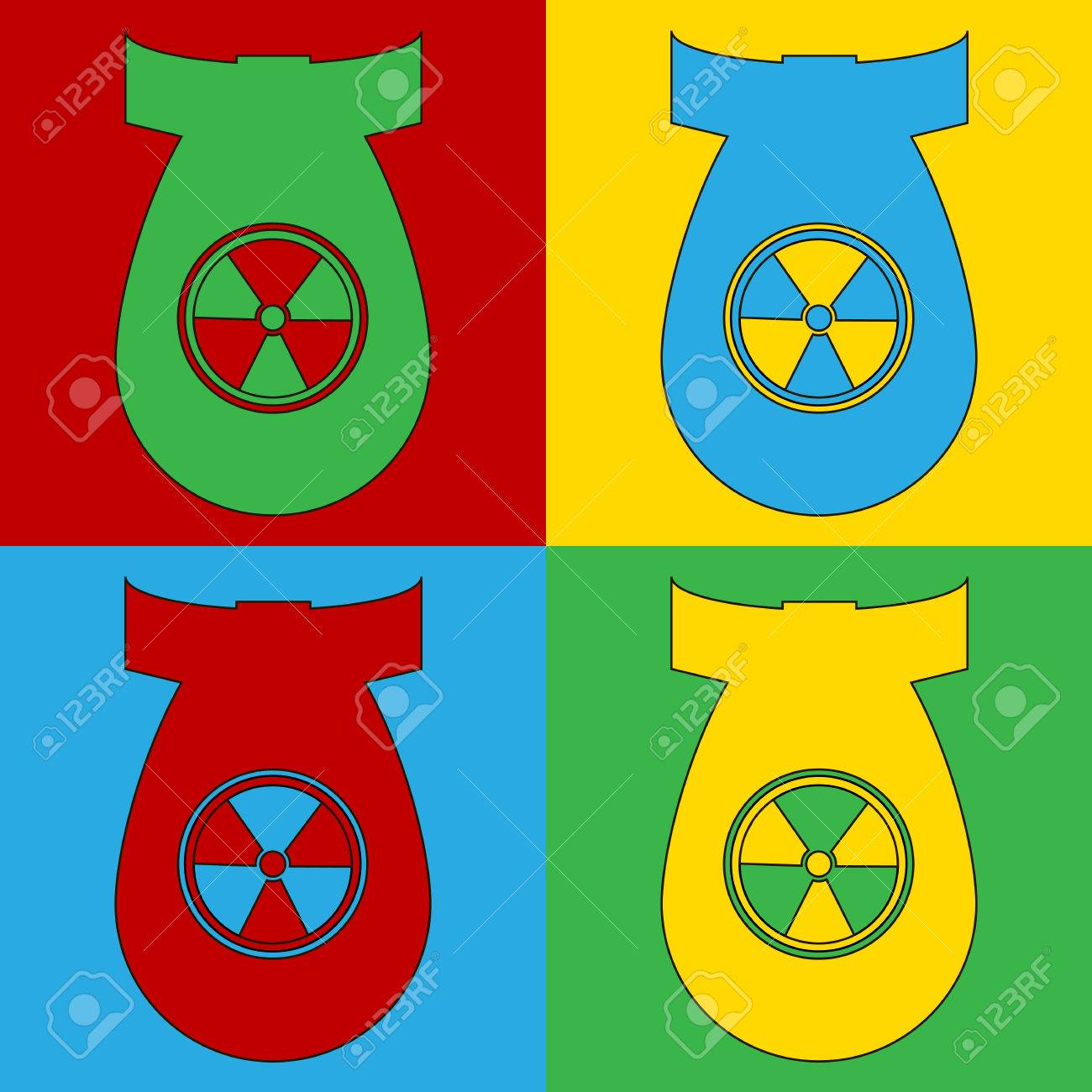 Pop Art Atom Bomb Symbol Icons Vector Illustration Royalty Free