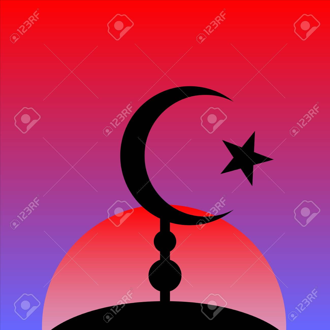Symbol of islam on sunset background vector illustration royalty symbol of islam on sunset background vector illustration stock vector 52007525 buycottarizona Gallery