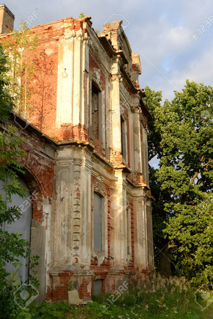 Ruin palace in the estate Znamenka near St Petersburg, Russia