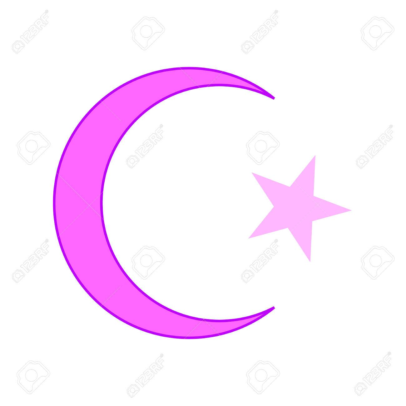 Star And Crescent Symbol Icon On White Background Vector