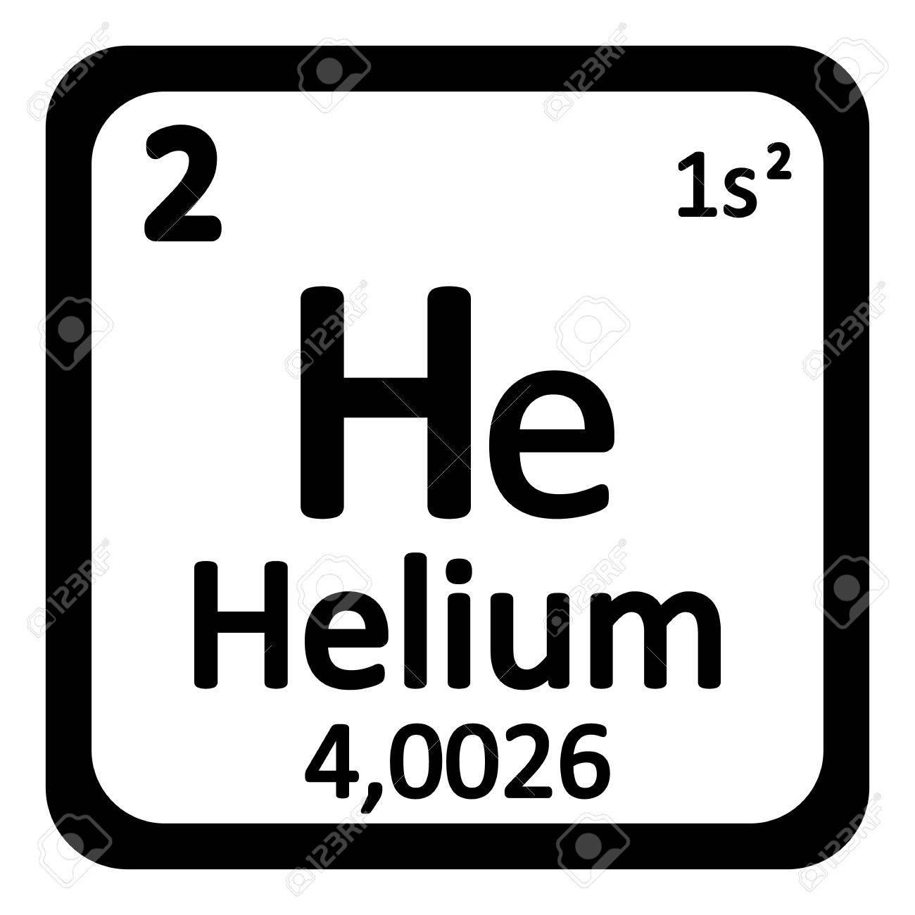 Periodic Table Element Helium Symbol Auf Weiem Hintergrund Vektor