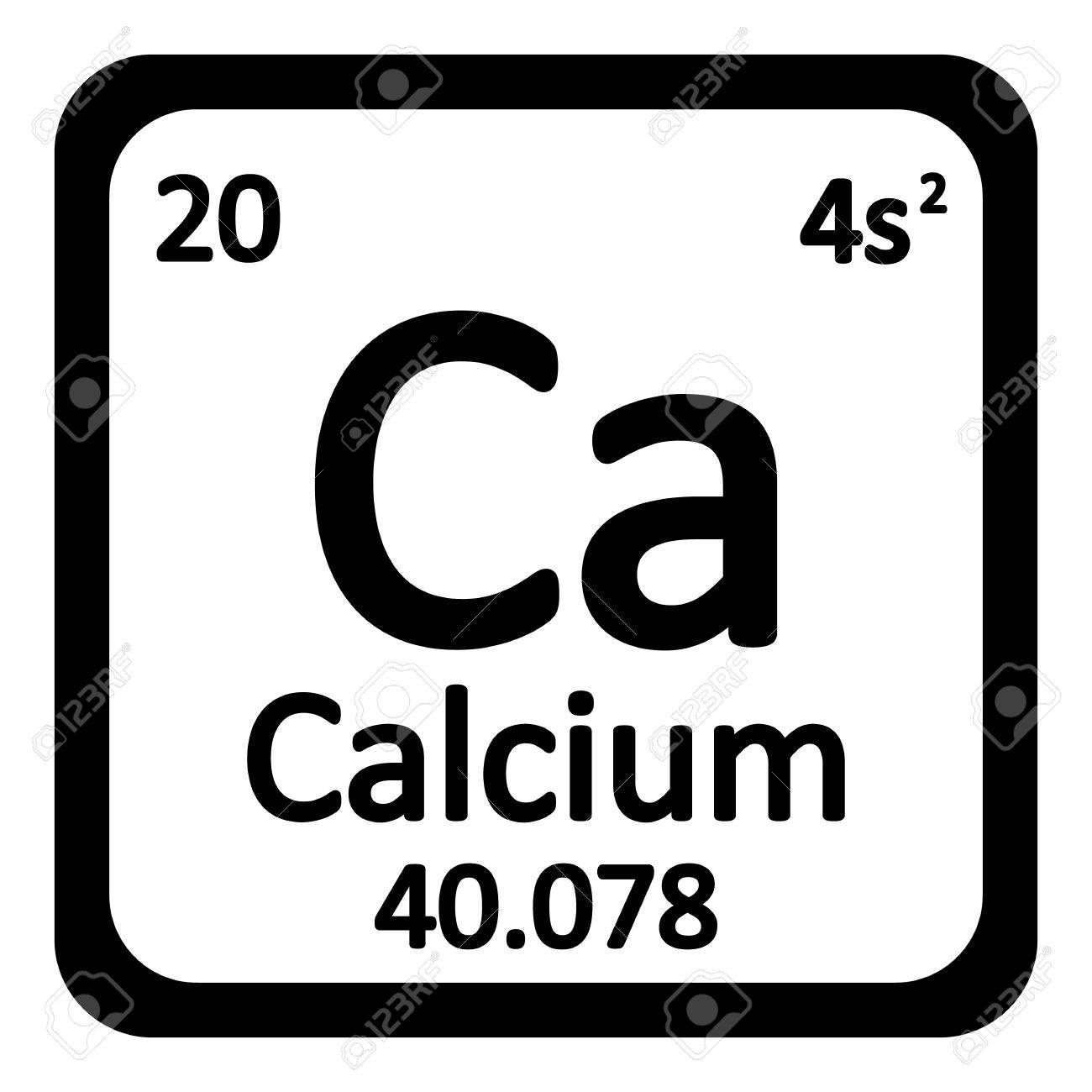 Periodic Table Element Calcium Symbol Auf Weiem Hintergrund Vektor