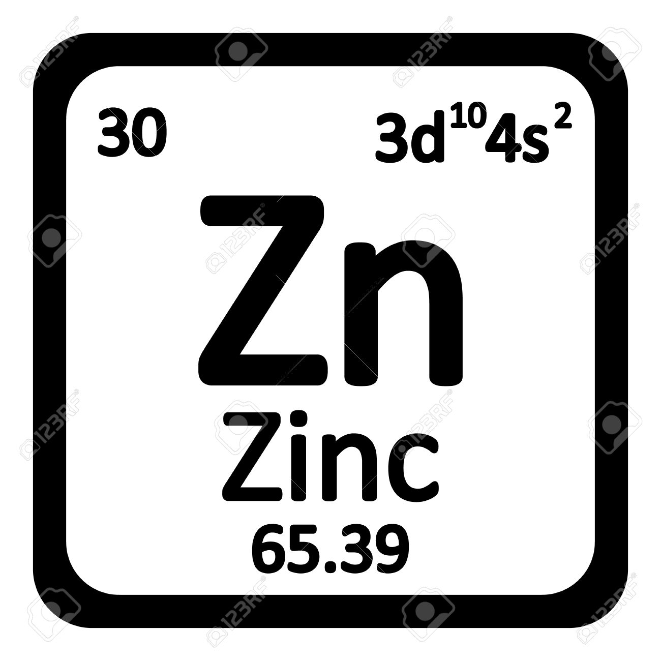Periodic Table Element Zinc Icon On White Background. Vector Illustration.  Stock Vector   63714975
