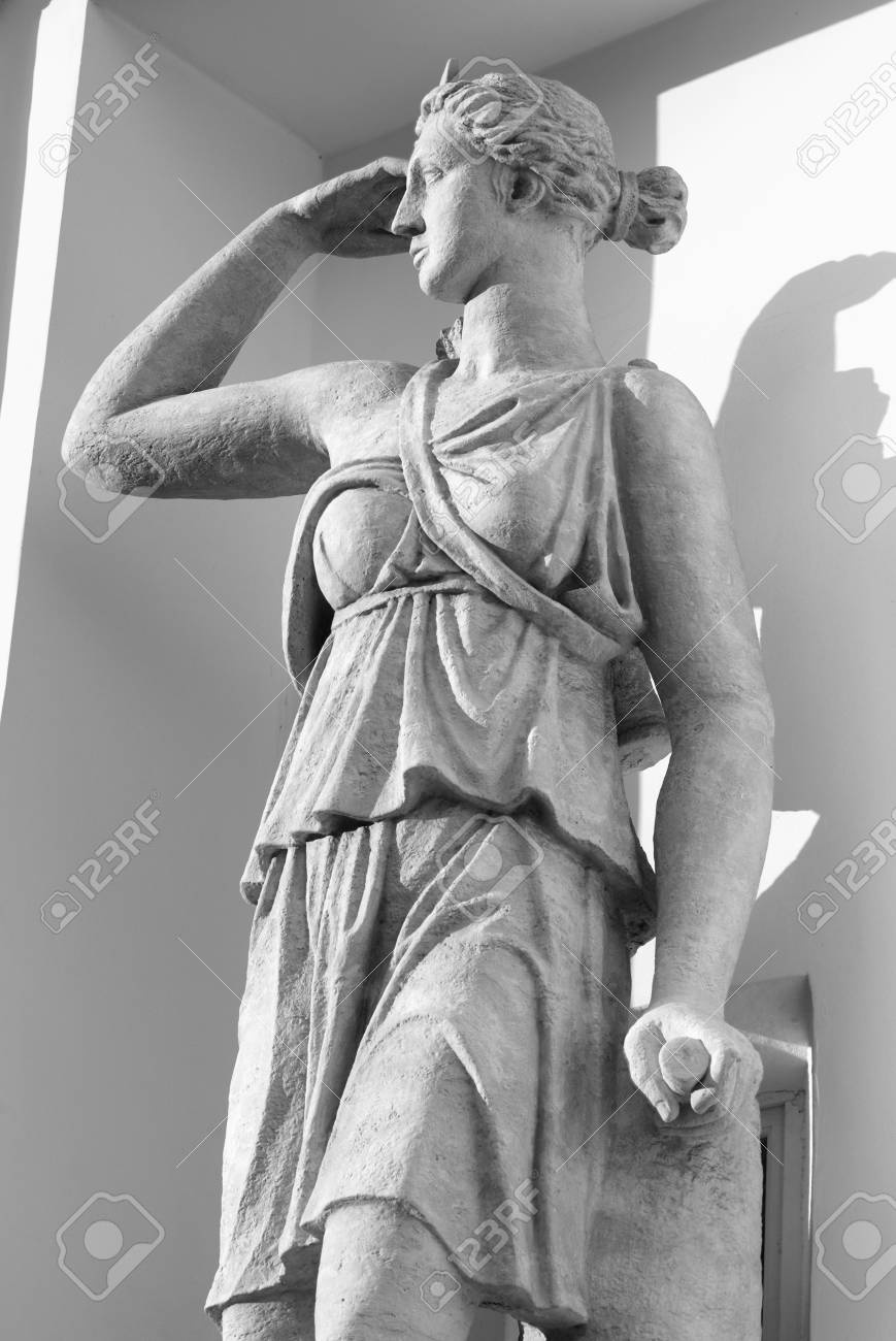 Statue Of Artemis In St Petersburg Russia Black And White Stock Photo Picture And Royalty Free Image Image 75037927