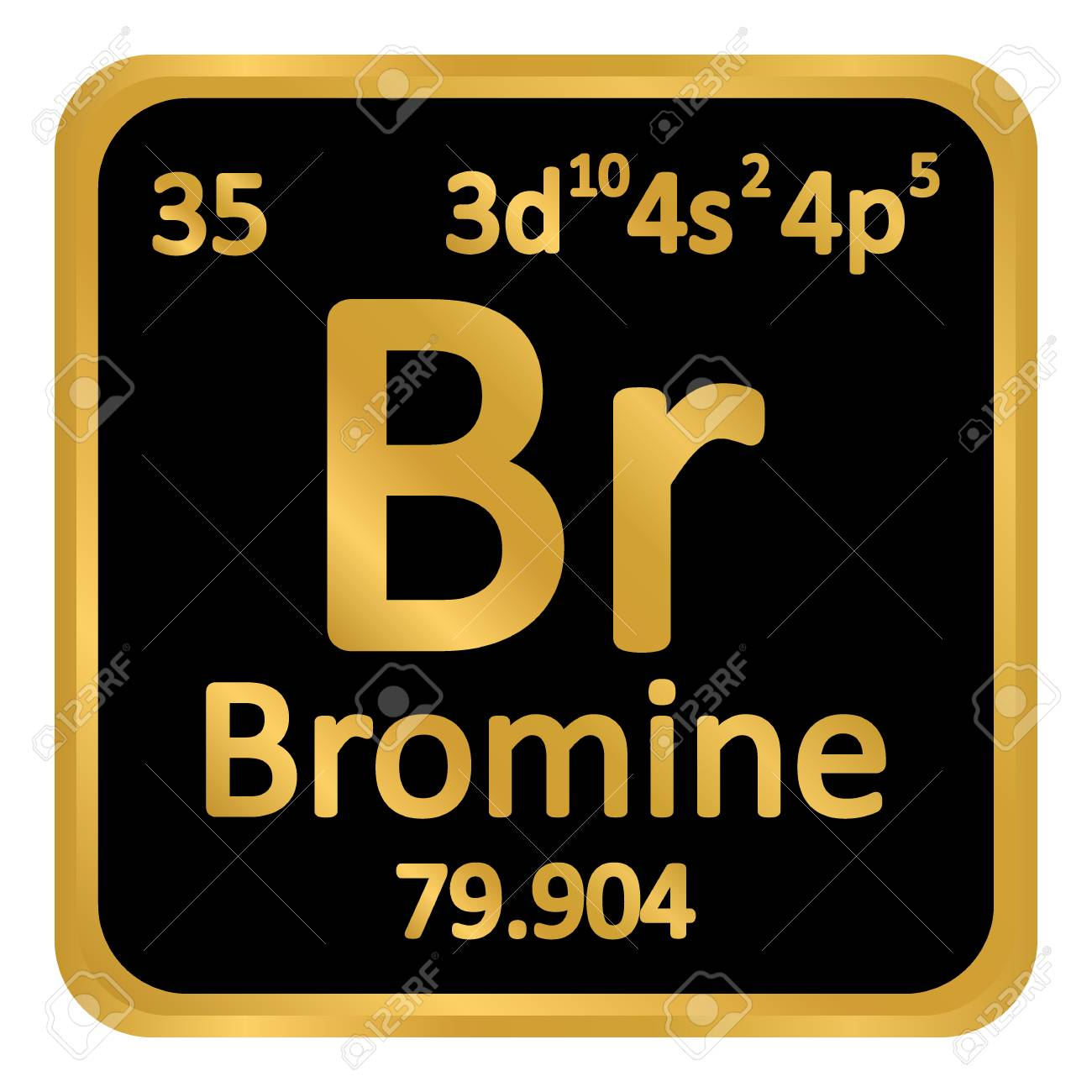 Periodic Table Element Bromine Icon On White Background Vector
