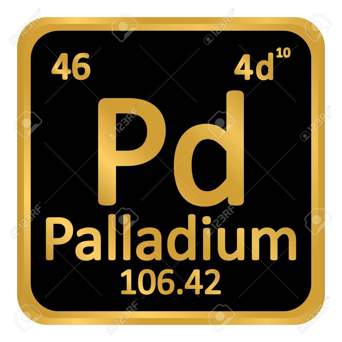 Periodic Table Element Palladium Icon On White Background Vector