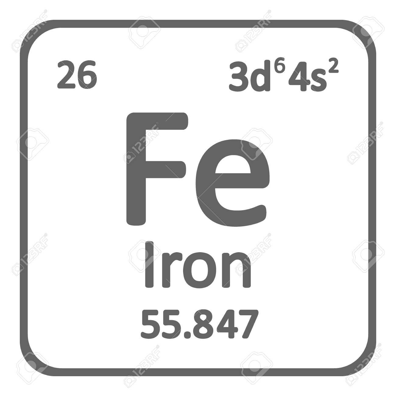 Periodic table element iron icon on white background. Vector illustration. - 104391271