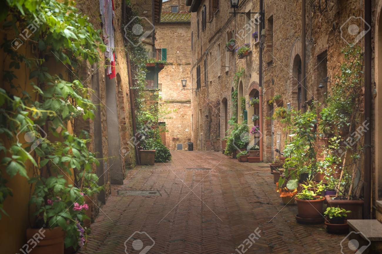 Majestic traditional decorated street with colorful flowers and rural rustic houses, Pienza, Tuscany, Italy, Europe - 120732532