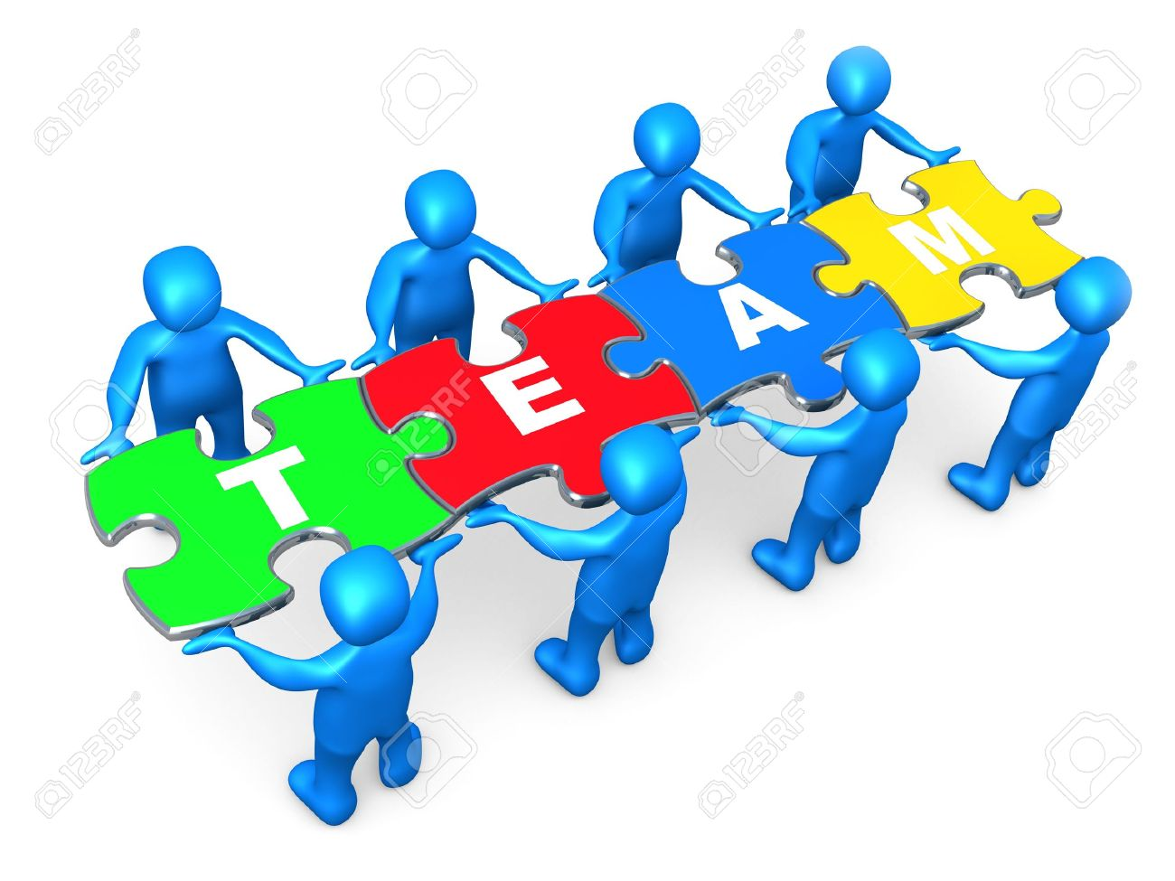 3d People Holding Pieces Of A Jigsaw Puzzle With The Word Team Stock Photo