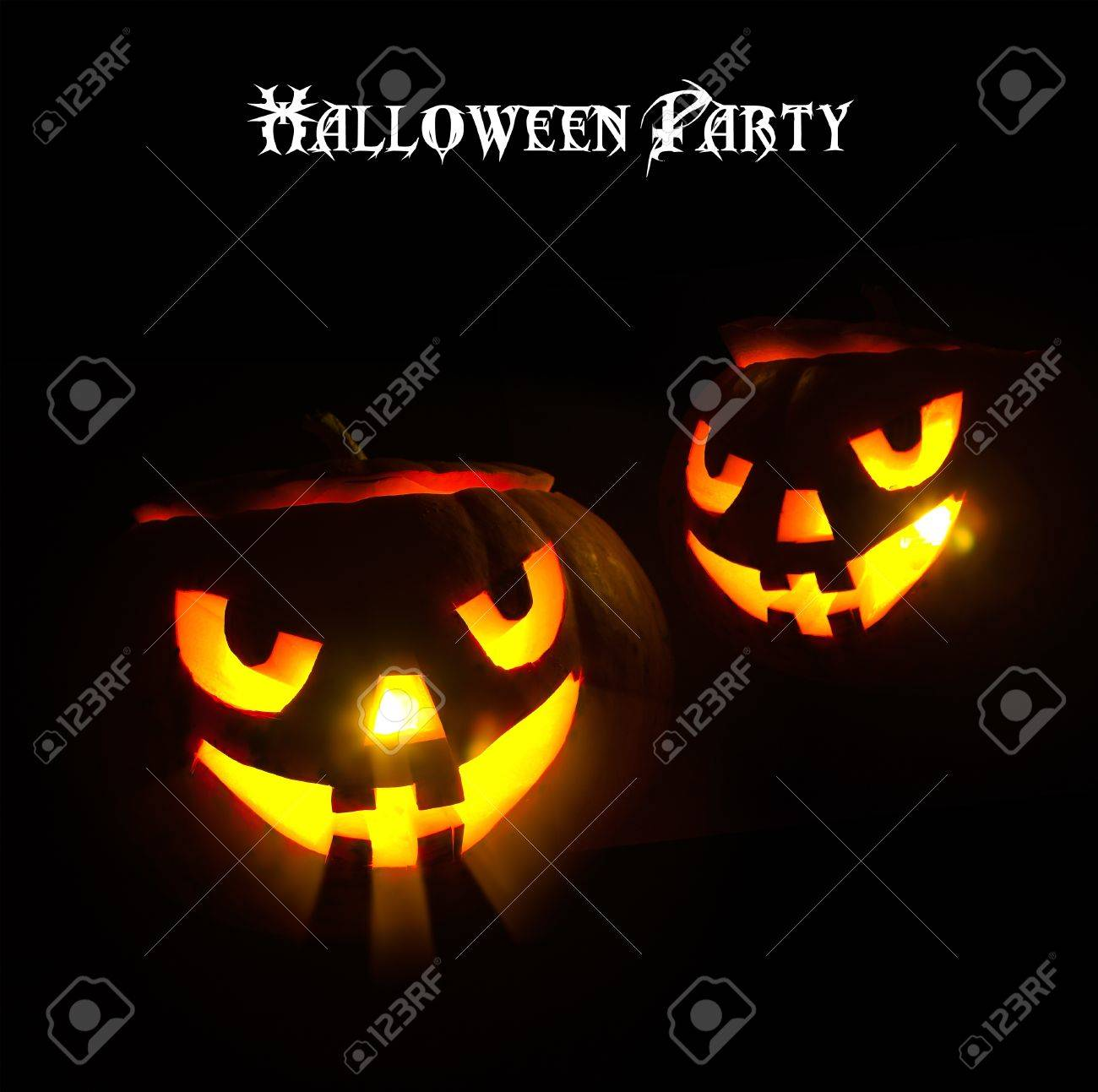 Glowing Eyes Pumpkin Design Halloween Party Stock Photo, Picture ...