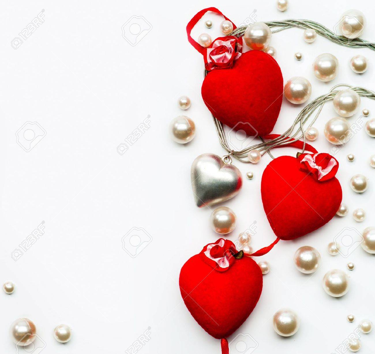 Design A Greeting Card With Hearts Happy Valentine Stock Photo