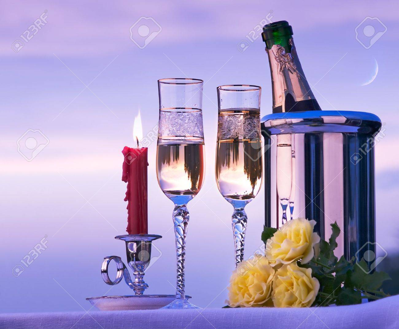 happy romantic dinner with wine on the sky background Stock Photo - 12393408