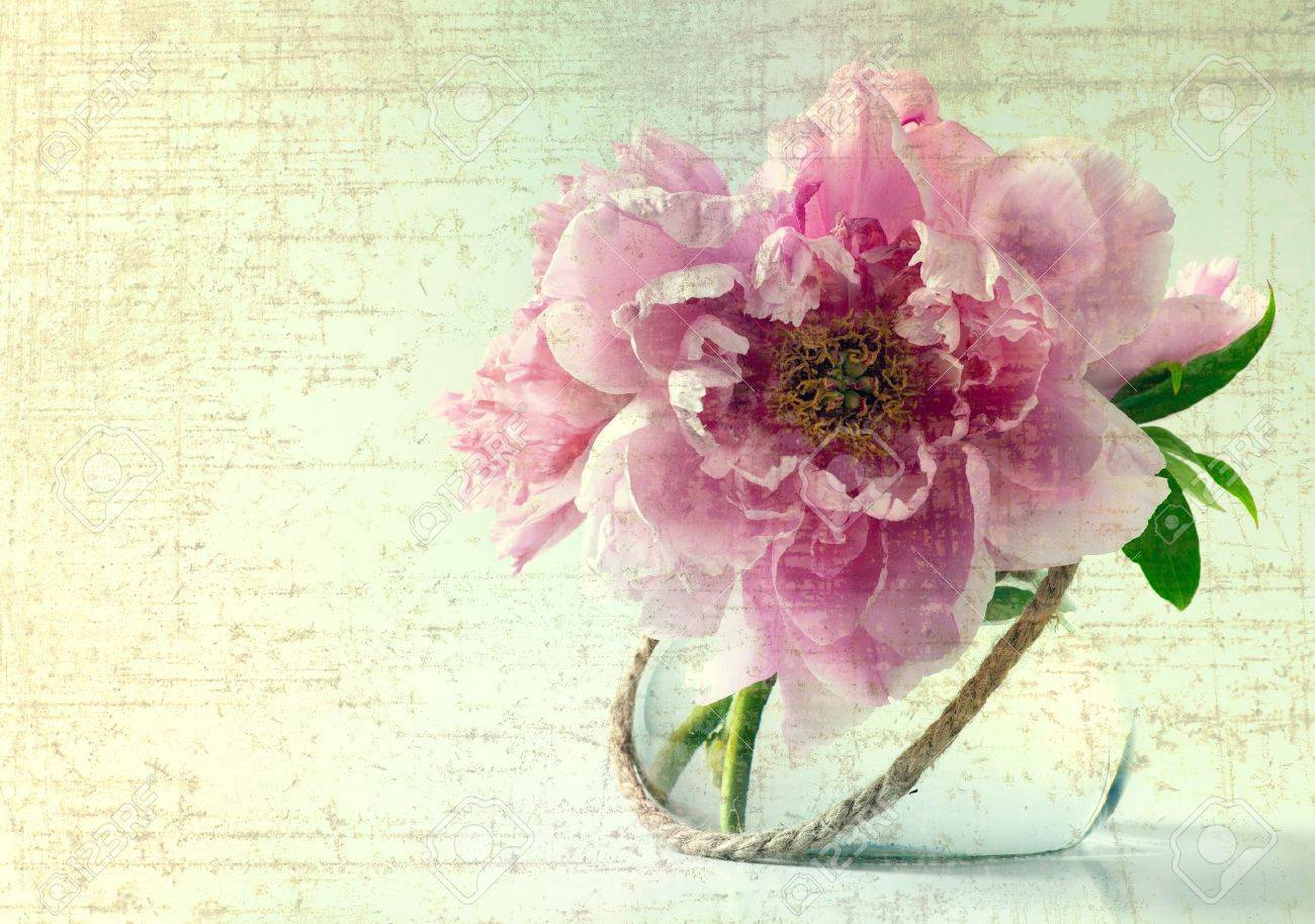 Vintage Spring Flowers In Vase On White Background Stock Photo