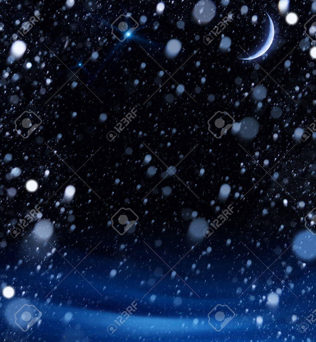 snow christmas magic lights background Stock Photo - 15975409