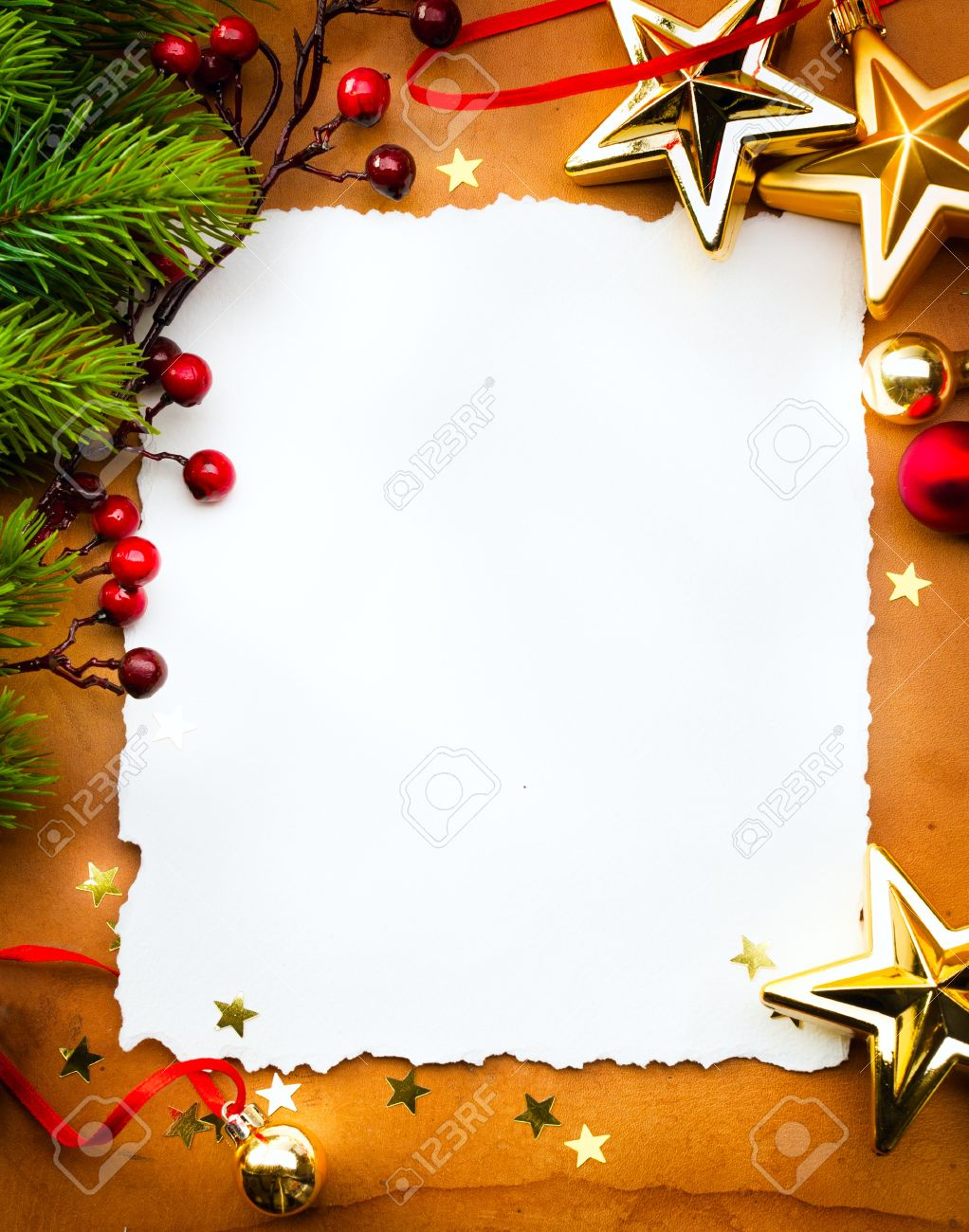 Christmas Card Background.Design A Christmas Greeting Card With White Paper On A Red Background