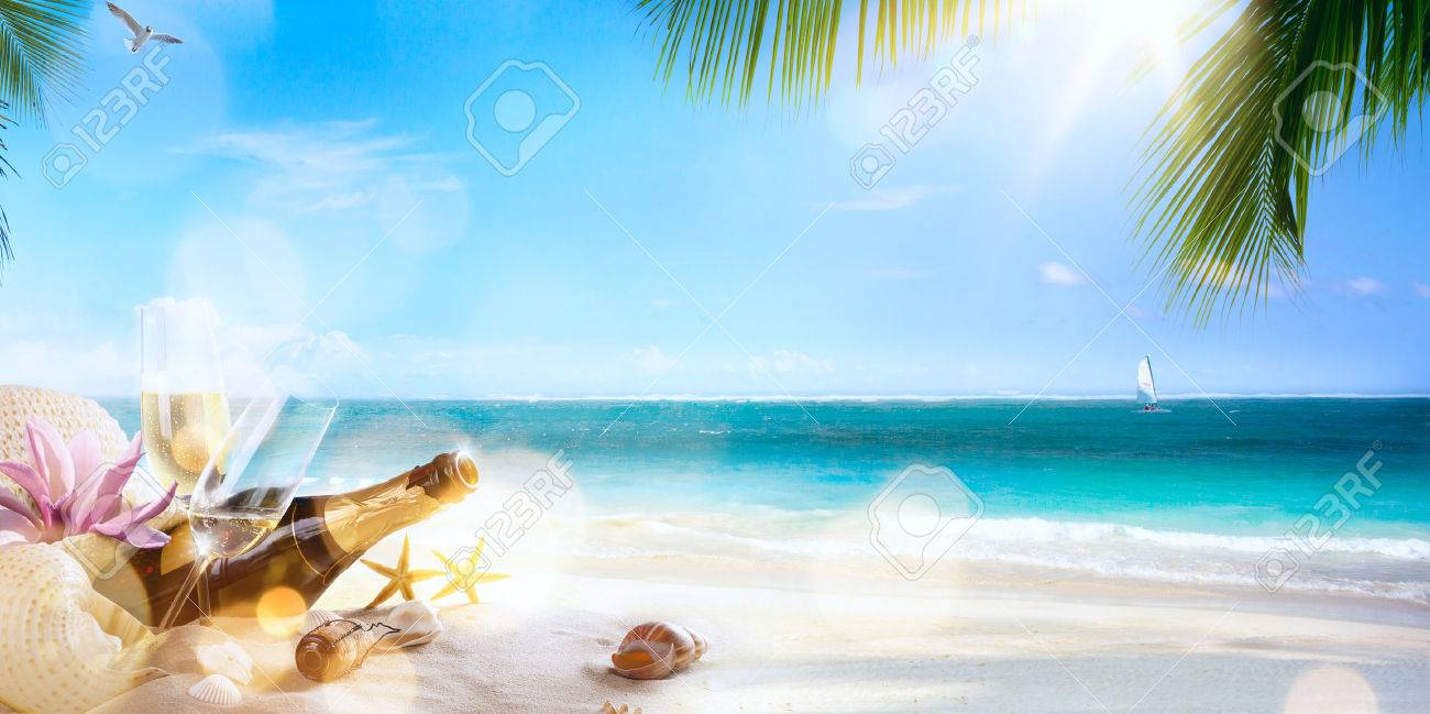art honeymoon party on the tropical beach Stock Photo - 42096800