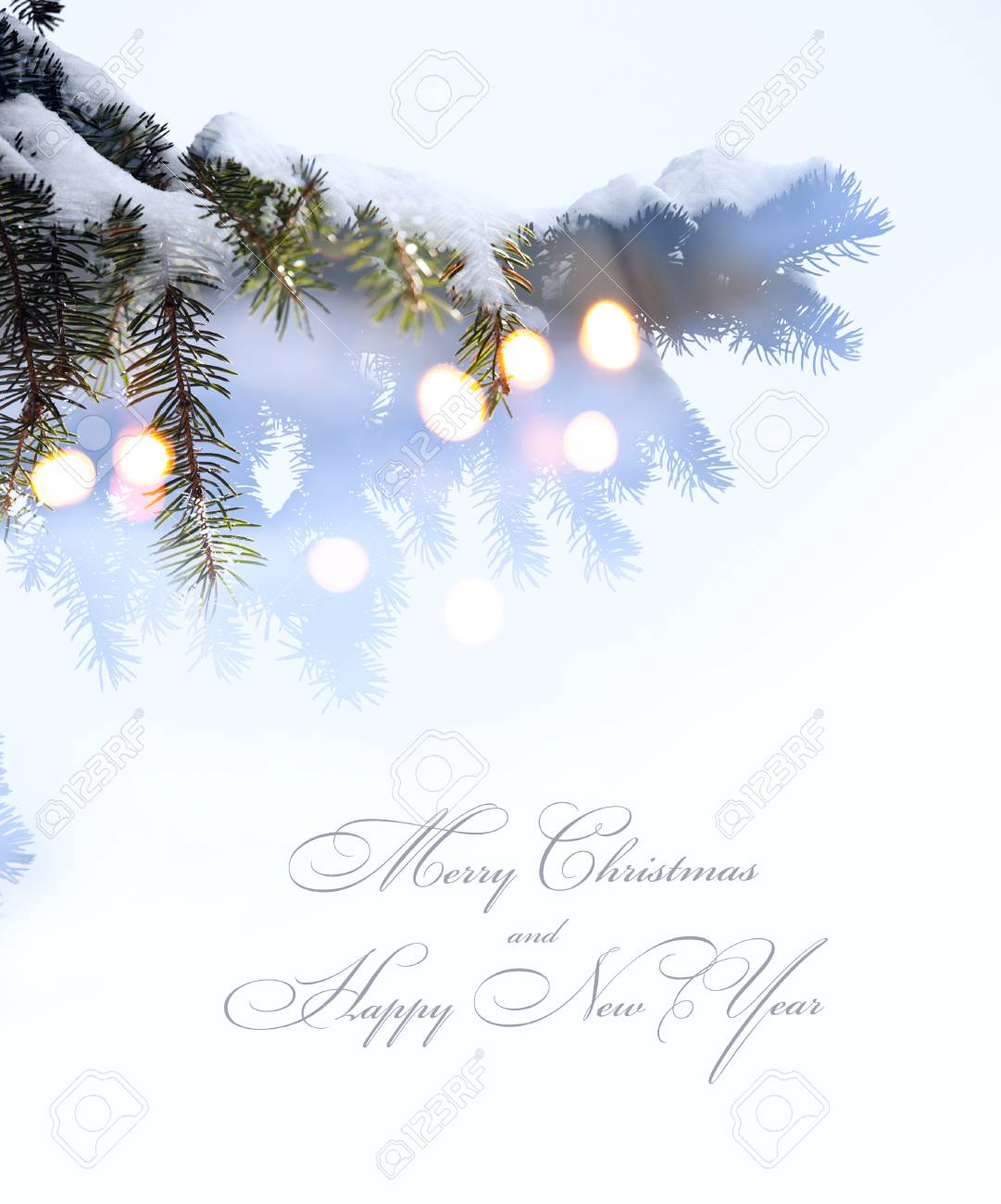 christmas tree lights white snow background stock photo 48040622