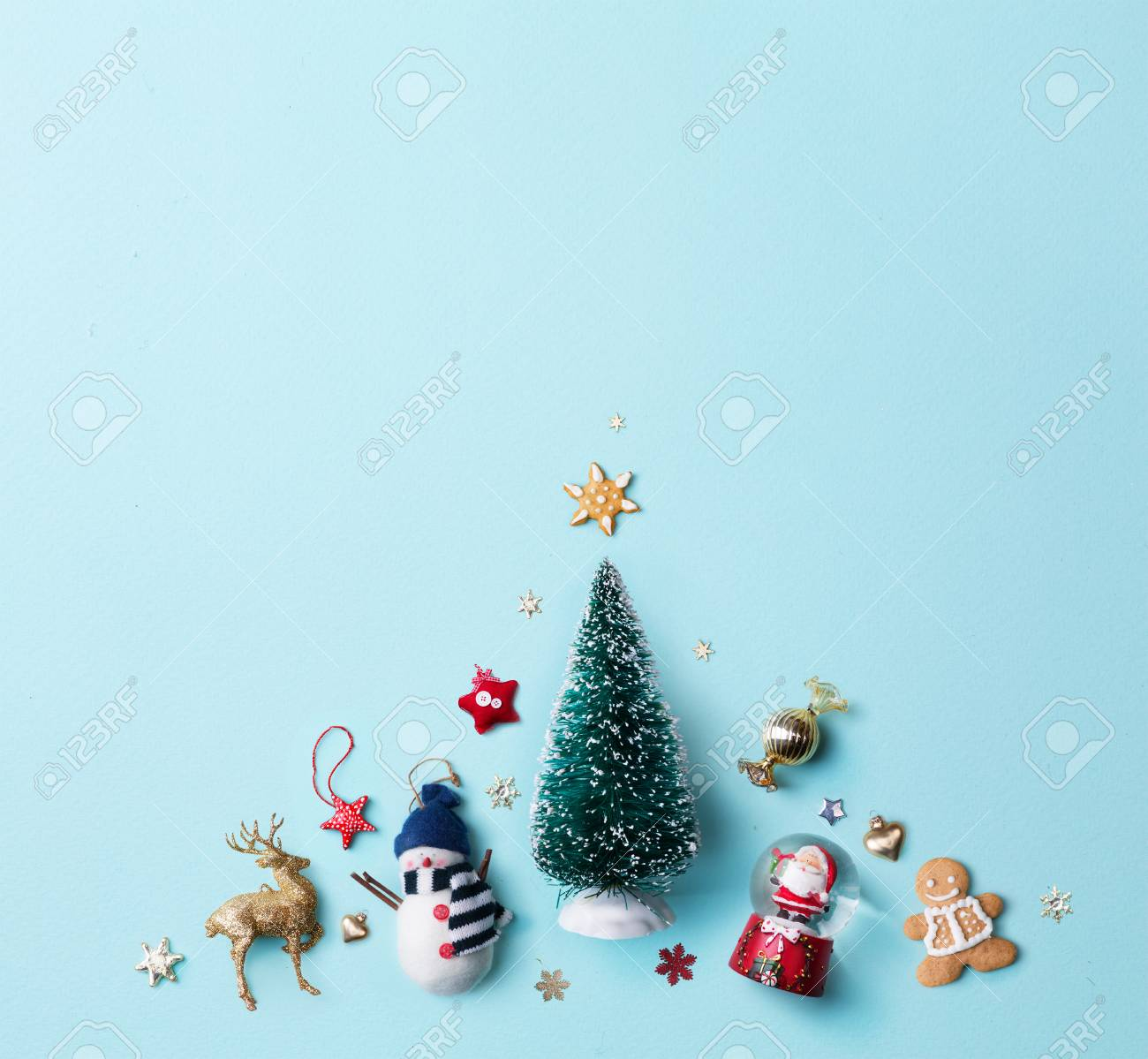 Christmas Holidays Ornament Flat Lay; Christmas Card Background ...