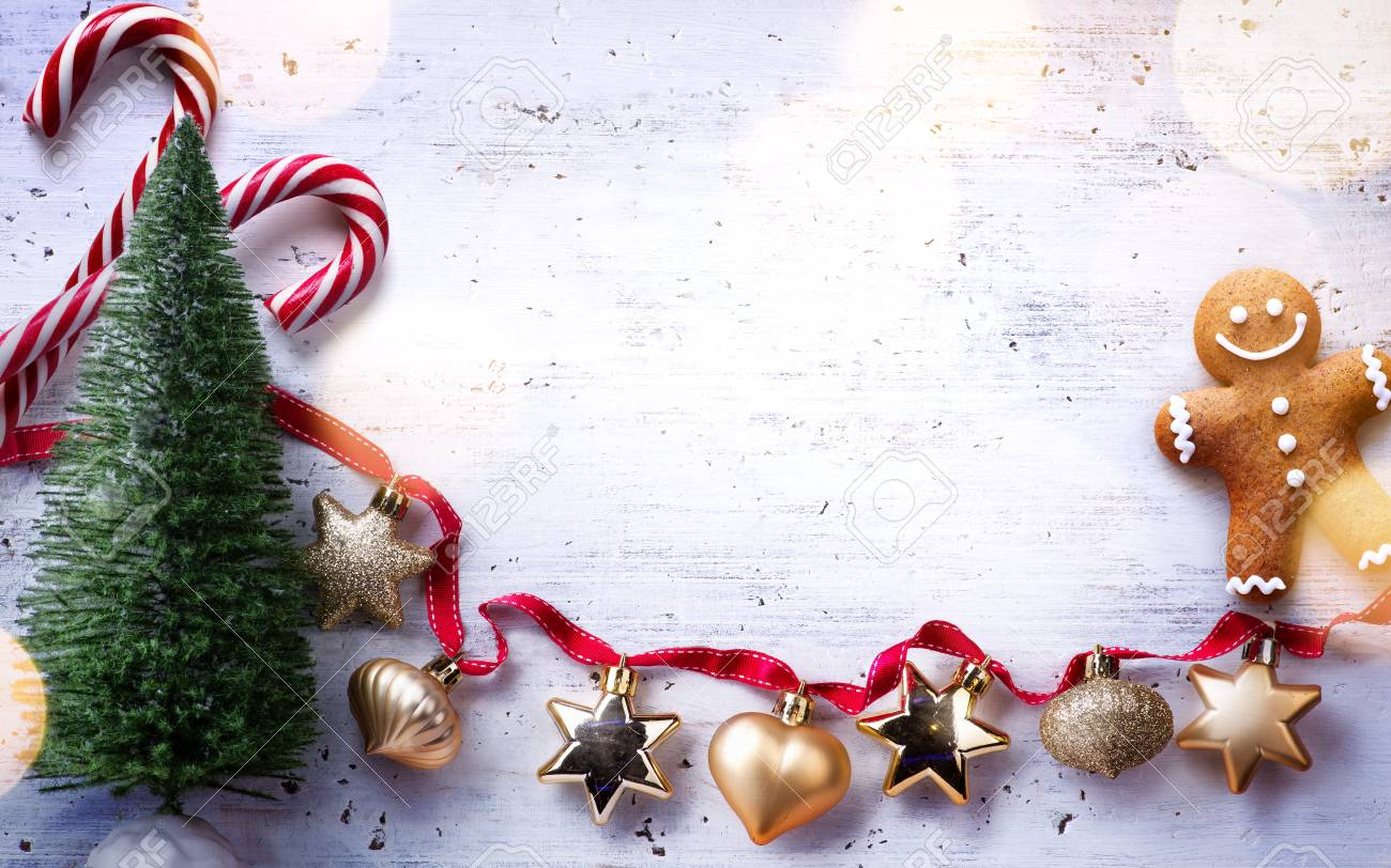 Christmas Holidays Composition On White Wooden Background Christmas Stock Photo Picture And Royalty Free Image Image 90439697