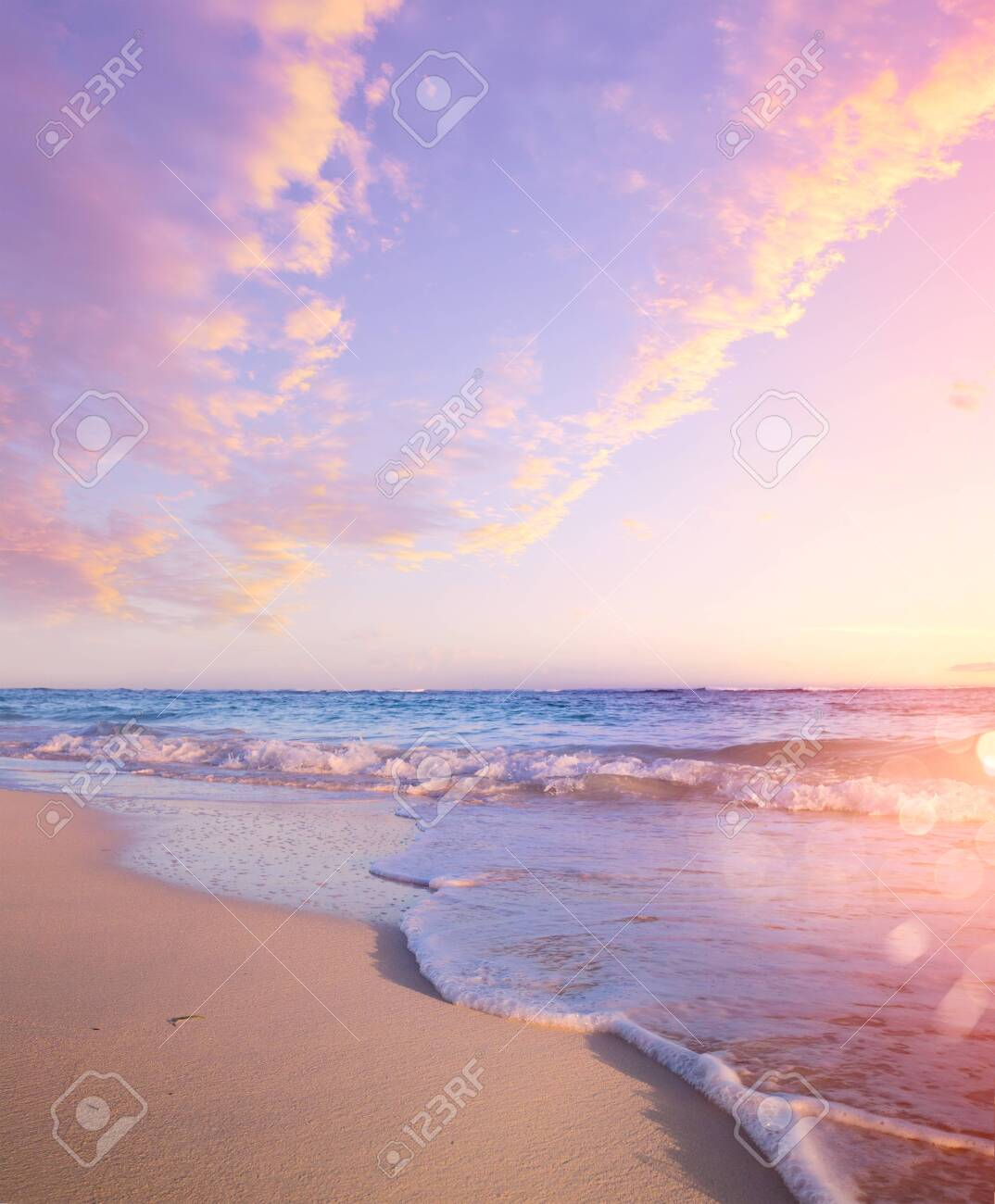 Summer Beach Background - Beautiful Sand And Sea And Sunlight - 123387501