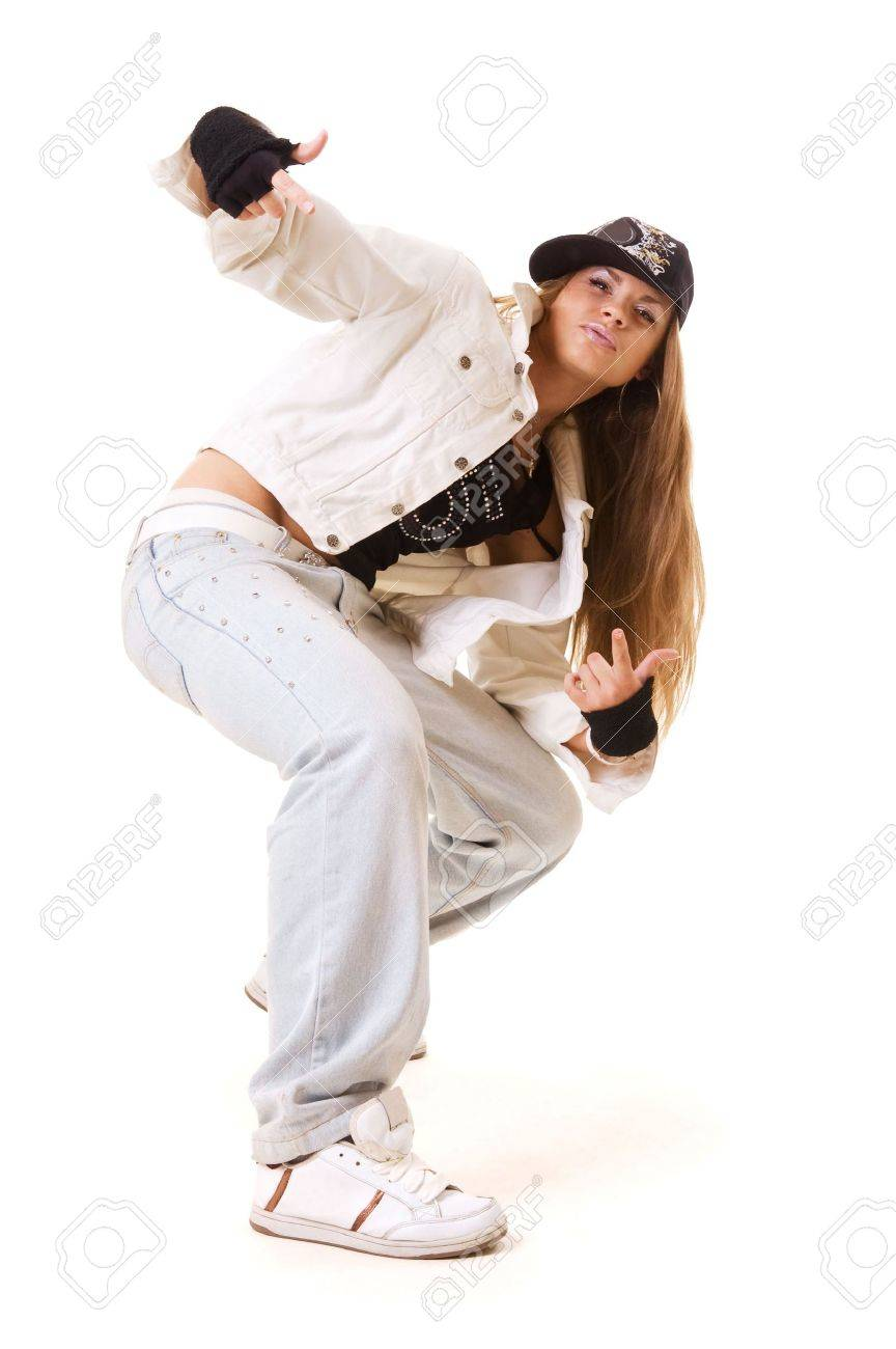 tough hip hop girl in dance pose isolated on white stock photo