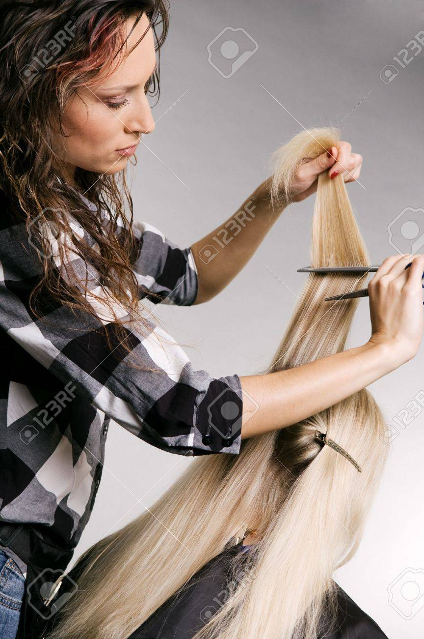 pro hairdresser working with client. studio shot over grey background Stock Photo - 3704649