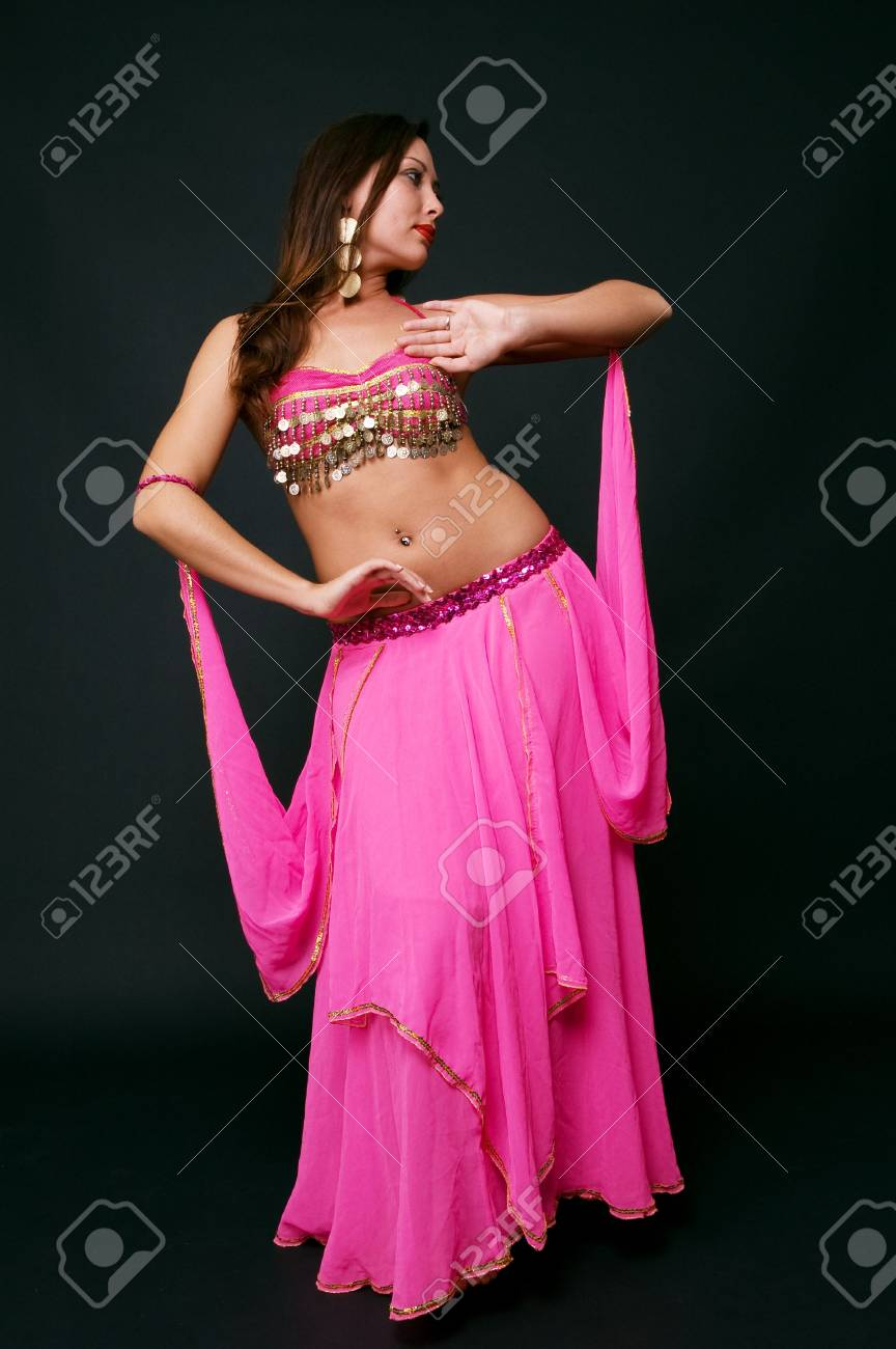 beautiful belly dancer in action. studio shot over black Stock Photo - 3760266