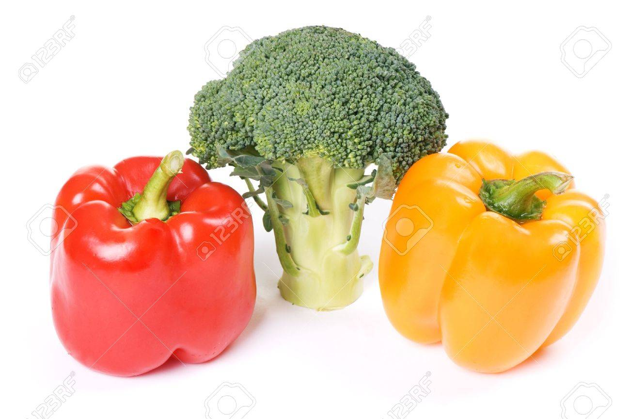 red and orange paprika with broccoli isolated on white background Stock Photo - 4022337