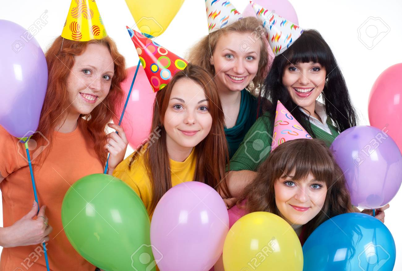 portrait of happy girls with balloons over white background Stock Photo - 7083129