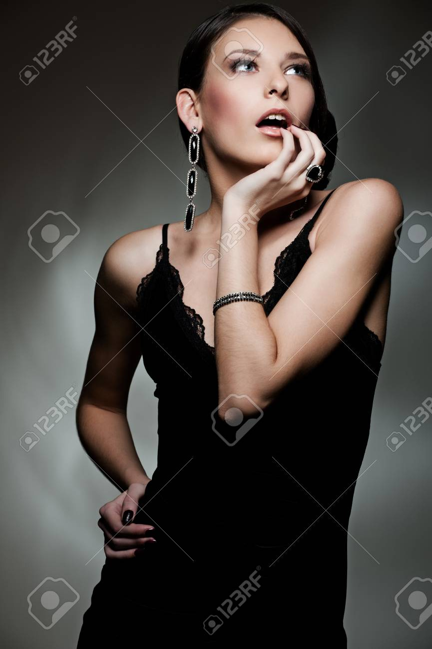 portrait of beautiful sexy model in black dress Stock Photo - 8895049