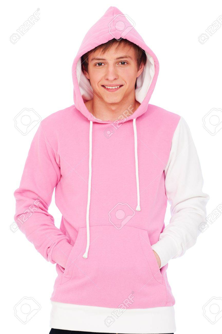 portrait of smiley guy in pink sweatshirt. isolated on white background Stock Photo - 8984387