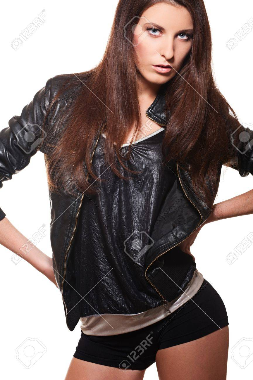 portrait of sexy woman in leather coat and shorts Stock Photo - 9268010