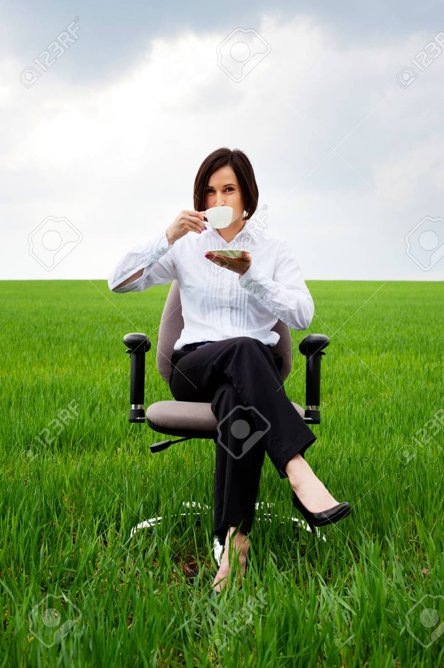portrait of businesswoman with white cup of coffee Stock Photo - 10485126