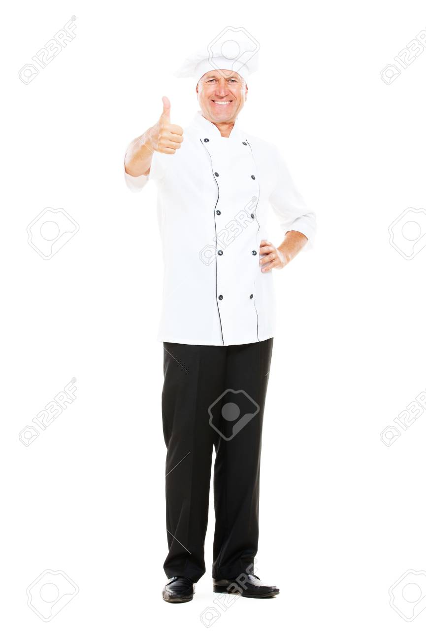 prosperous chef showing thumbs up. isolated on white background Stock Photo - 10705474