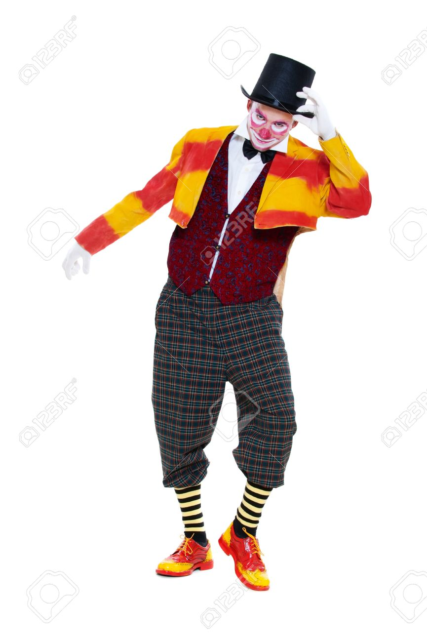 portrait of clown in top hat isolated on white background stock