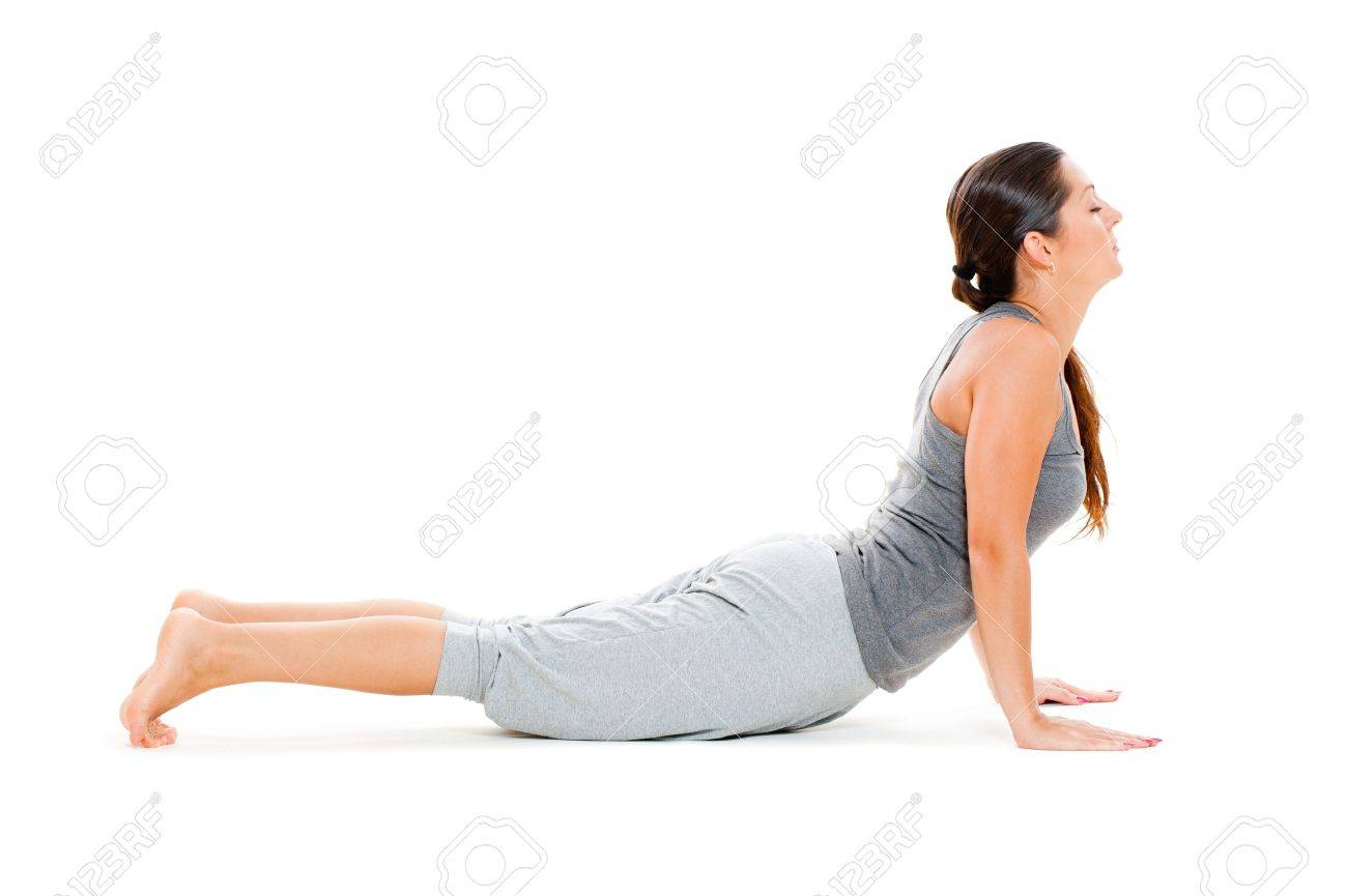young woman doing exercise on floor. isolated on white background Stock Photo - 10705491