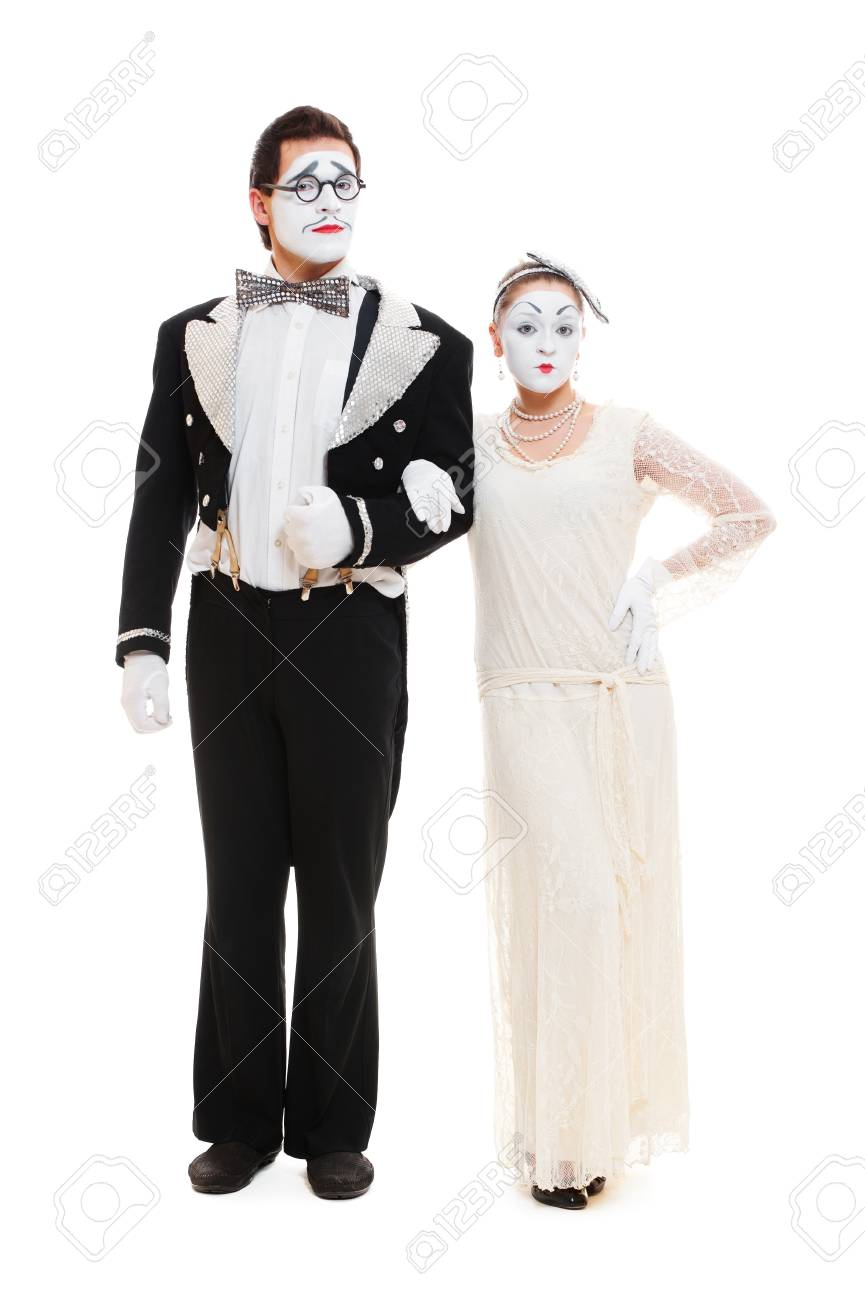 portrait of couple mimes. isolated on white background Stock Photo - 12428733