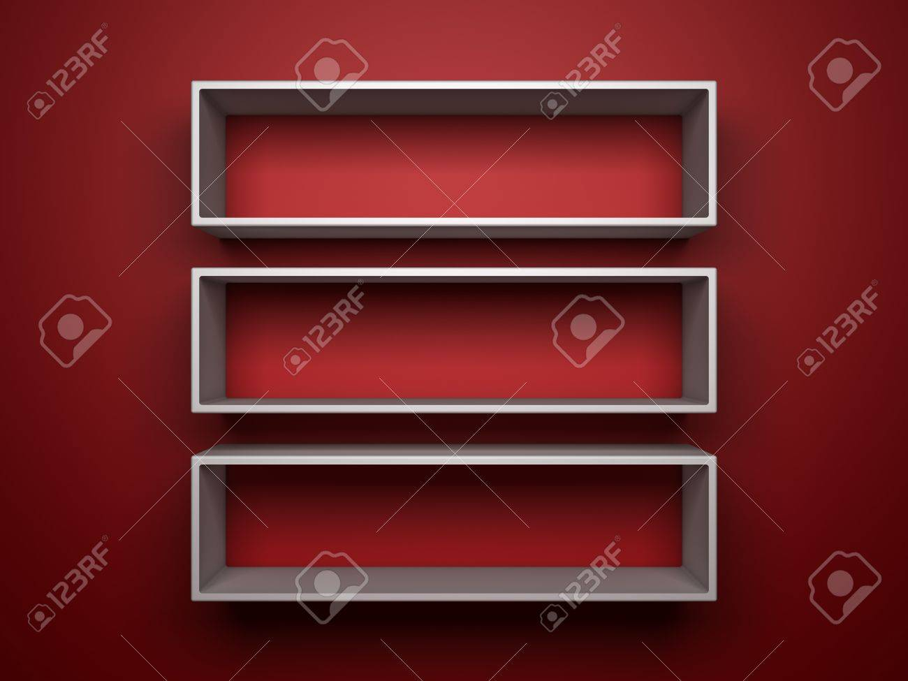 three 3d white shelfs on red background Stock Photo - 12428906